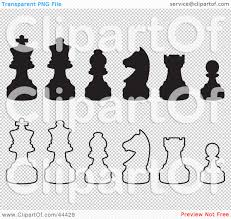 clipart illustration of rows of silhouetted white and black chess