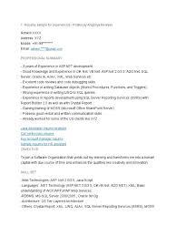 Wpf Developer Resume Sample by Dot Net Resume Virtren Com
