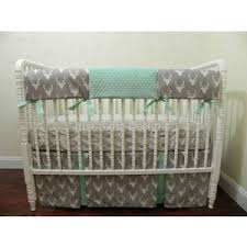 deer crib bedding set in gray and mint neutral baby bedding