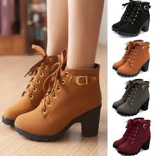 ladies biker boots women biker motorcycle ankle boots high heels suede lace up punk