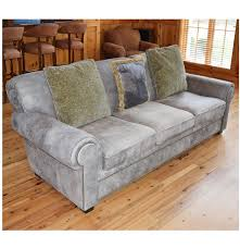 gray distressed leather sofa with nail trim by century furniture