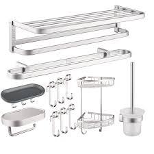 Silver Bathroom Accessories Sets Aluminum Wall Mount Silver Bathroom Accessories Set