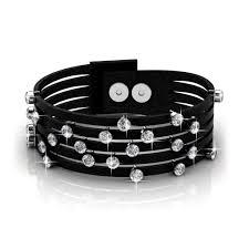 swarovski crystal leather bracelet images Bracelets nadia 18k gold swarovski crystal leather bracelet jpg