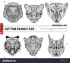 set family cat coloring book adults stock vector 367974884