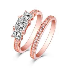 stone rings jewelry images Princess cut rose gold s925 silver white sapphire 3 stone ring jpg
