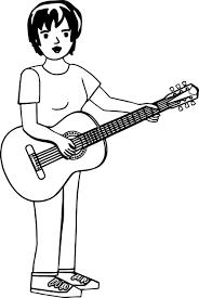 short hair woman playing guitar coloring wecoloringpage