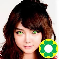 dueba cosplay lens green flower yellow halloween color lens