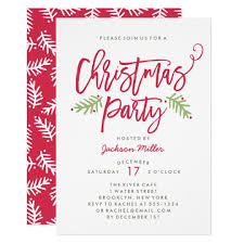 christmas invitations modern brush script christmas party card zazzle
