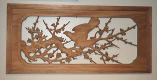 gorgeous japanese wood carved wall hanging ranma flower and bird