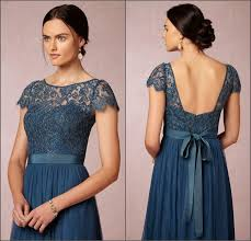 elegant sheer jewel navy blue bridesmaid dress backless