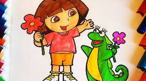 dora the explorer coloring pages for kids dora and isa iguana