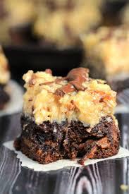 caramel stuffed german chocolate brownies frugal mom eh