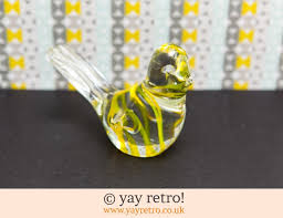 yellow glass bird paperweight ornament vintage shop retro china