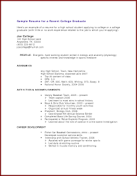 Sample Resume For Canada by Sample Resume For A College Student With No Experience Free
