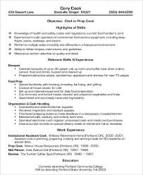 Sample Line Cook Resume by Prep Cook Resume In Pdf Sample Line Cook Resume Objective Within