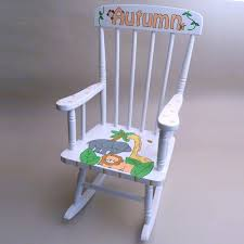 Nursery Upholstered Rocking Chairs by Furniture White Wooden Rocking Chair With Jungle Animal Theme