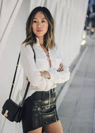 leather blouse lace up blouse and leather skirt at the broad song of style