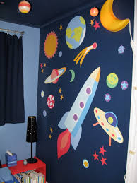 dark unbelievable outer space bedroom featuring a rocket ship room outer space room decor