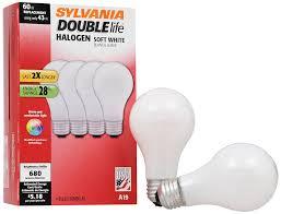halogen light bulbs vs incandescent sylvania 50047 double life 28 watt halogen bulb replacement for 40
