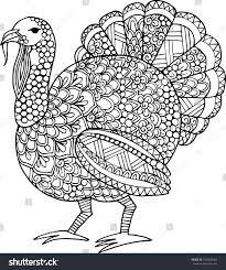 outline thanksgiving turkey illustration stock vector