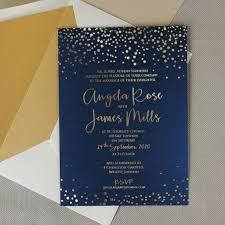 Gold Foil Wedding Invitations Navy Blue Gold Foil Confetti Elegant Wedding Invitation U2013 Paper