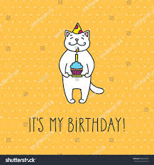 My Birthday Invitation Card My Birthday Cute White Cat Cake Stock Vector 402278665 Shutterstock