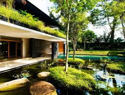 green home design green roofed cluny house showcases low energy luxury in singapore