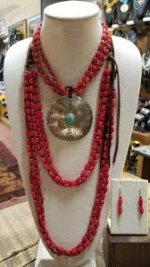 round turquoise necklace images Red coral necklace with round turquoise pendant earrings the jpeg