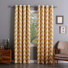 Chevron Pattern Curtain Panels Alex Chevron Printed Grommet Top Panel Pair Bright Yellow And Bright