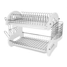 Dish Rack And Drainboard Set Rubbermaid Large Chrome Antimicrobial Dish Drainer Fg6032archrom