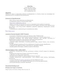Sample Resume Objectives For Radiologic Technologist by Phlebotomist Resume Sample No Experience Free Resume Example And