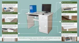 Schreibtisch 55 Cm Tief Schreibtisch Kiefer Massiv Vollholz Weiß Junco 190 Abmessung 75