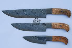 professional kitchen knives lot of 3 pcs professional chef knife custom handmade damascus