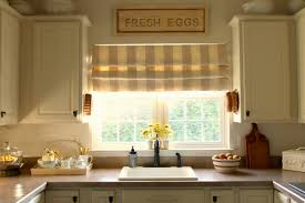 interior country kitchen window treatment with vintage floral