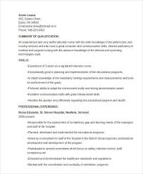 Nurse Educator Resume Examples by 8 Teaching Resume Templates Free Sample Example Format