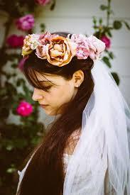 bridal veil bridal flower crown bridal crown bridal halo rose