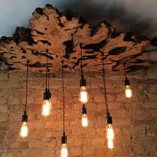 Wooden Light Fixtures Made Large Live Edge Olive Wood Chandelier With Edison Bulbs