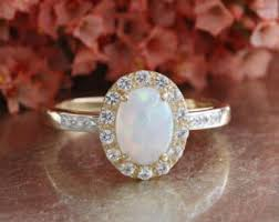 Birthstone Wedding Rings by Opal Engagement Ring Etsy