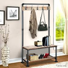 shoe rack with coat hanger rustic hook stand clothes vintage pipe