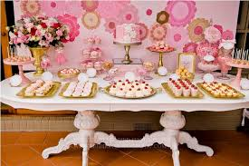 pink and gold cake table decor allie i like the doilies on the wall behind could do something like