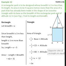 example 12 a rectangular park is to be designed whose examples