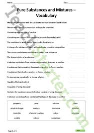 pure substances and mixtures vocabulary worksheet teaching