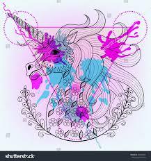 hand drawn vector magic unicorn stock vector 400208806