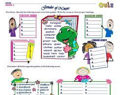 gender of nouns grade 2 2nd 3rd grade worksheet lesson planet