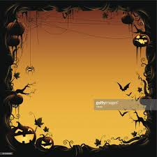 halloween border made of pumpkin vine with bats and spider vector