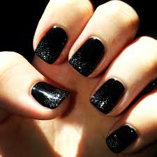 black shellac with sparkle tips shellac nail obsessed