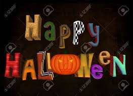 3d multicolor happy halloween words sign with pumpkin and wooden