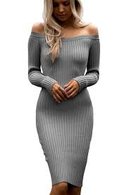 sweater dresses grey shoulder sleeve bodycon rib knit sweater dress