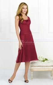 burgundy chiffon a line straps knee length bridesmaid dresses