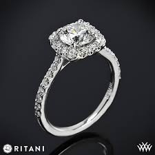real diamonds rings images Ritani french set cushion halo diamond band engagement ring 3376 jpg